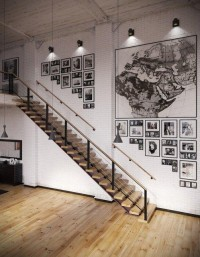 Fancy - Industrial Loft With Organic Traits [Visualized] RIP3D Industrial Loft- monochrome map and photographic display on white brick – Interior Design Ideas