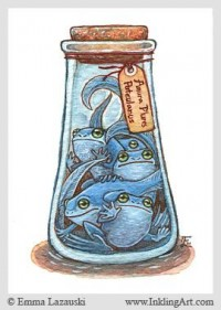 ACEO: Bottled Blue Frogs by =emla