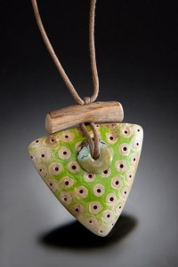 NINA MORROW driftwood jewelry - GREEN TRIANGULAR PENDANT