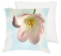 18x18 cotton pillow Single pink tulip spring by VintageChicImages