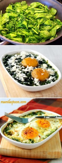 Baked Spinach and Eggs Food Pix | Recipe by Picture