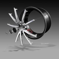 Audi TT ultra quattro concept - Wheel exploded design sketch - Car Body Design