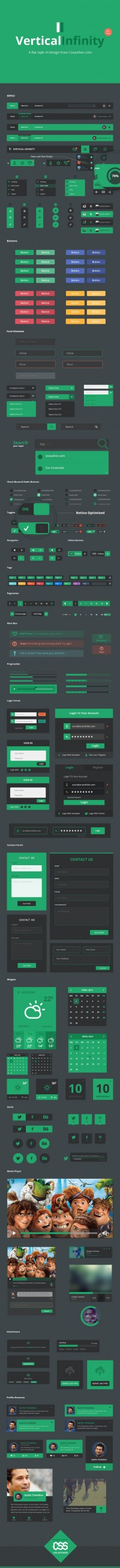 Vertical Infinity - A Mega Flat Style UI Kit for Free Download - Freebie No: 92