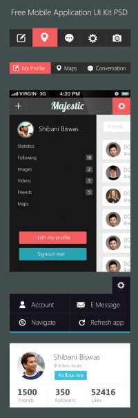 Free Mobile Application UI Kit PSD - Freebie No: 95 < Css Author