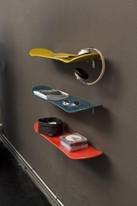 Skateboard deck shelves