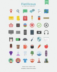 Flatilicious - 48 Free Flat Icons (PSD) - Designer First