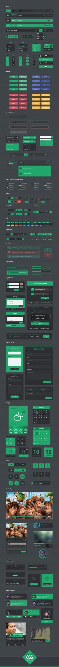 Vertical Infinity - Flat UI Kit (PSD) - Designer First