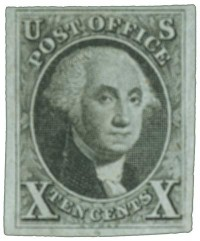 1847 10c Washington, black, imperf - Catalog # 2 For Sale at Mystic Stamp Company