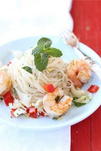 Cookin' Canuck – Rice Noodle Salad with Endive, Shrimp & Soy-Ginger Dressing Recipe