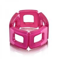 Fuchsia Square Acrylic Bracelet,stretch bracelet,acrylic bracelet,squa