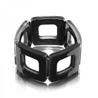 Jet Black Square Acrylic Bracelet,stretch bracelet,acrylic bracelet,sq