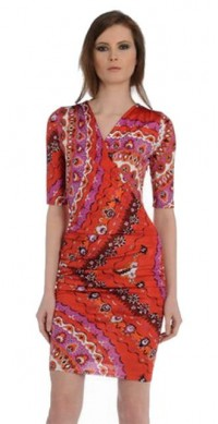 Discount Emilio Pucci V Neck Printed Short Sleeves Silk Slim Dress Red Sale