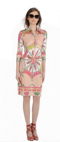 Buy Emilio Pucci Printed Seven Sleeve Knited Silk Dress Pink Online