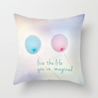 balloon love: live the life you've imagined Throw Pillow by Sylvia Cook Photography | Society6