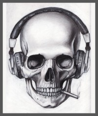 Skull Headphones Cigarette by ~pleasenojunkthanks