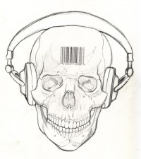 Skull and Headphones by ~Snigom