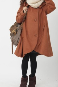 dark orange cloak wool coat Hooded Cape women Winter by MaLieb