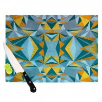 "Nika Martinez ""Abstraction Blue & Gold"" Cutting Board 