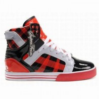 supra skytop high top red black white pattern for women