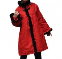 Winter tunic coat/ Standup collar padded coat in red by MaLieb