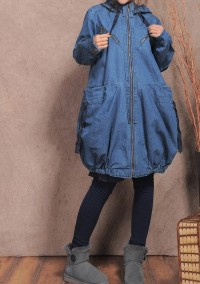 Large pockets Hood lantern blue coat by MaLieb on Etsy