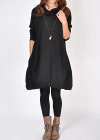 Women Cotton Dress/ pile collar casual long sleeved by MaLieb