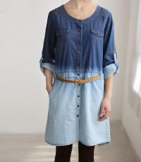 Simple shirt dress/ Leisure Open single breasted two by MaLieb