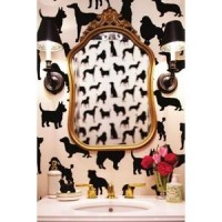 Lovely Home / dog wallpaper bathroom #lonny - Polyvore