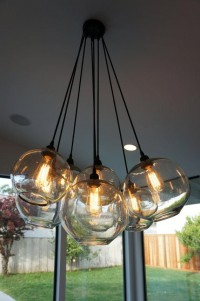 Modern Glass Globe Chandelier w/ Edison Lights by HomesbyAbode