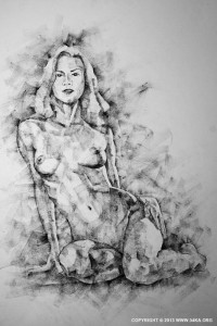 SketchBook Page 36 – Female Sitting Pose Drawing - Figure Drawing by Dimitar Hristov - 54ka