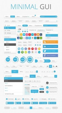 Minimal GUI Set: More Than 1000 Free Elements, Buttons, Patterns, Icons And Many More (Commercial Usage Allowed)