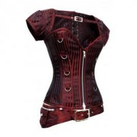 CD-831 - Red and Black Striped Corset with Detachable Belt and Jacket - Plus size corsets