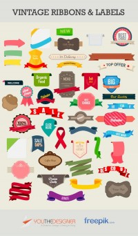 Free Vector Pack: Vintage Ribbons and Labels