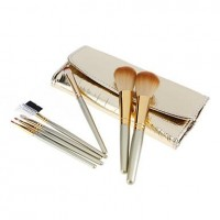 7Pcs Golden Alligator Pattern Portable Makeup Brush Set - makeupsuperdeal.com