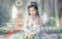 women dress flowers birds brides asians artwork drawings High Quality Wallpapers,High Definition Wallpapers