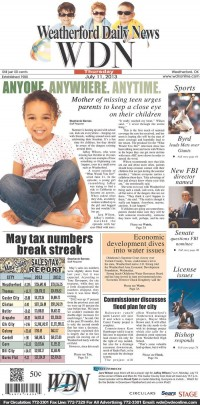 Newseum   Today's Front Pages   Weatherford Daily News