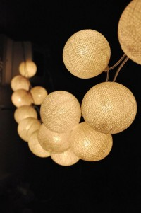 Handmade White Cotton Ball String Lights by Ginew - contemporary - outdoor lighting - Etsy