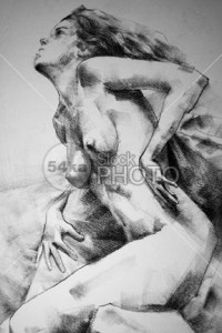 Close-Up Charcoal Drawing Leaning Pose Woman - Drawing Classical Art - 54ka StockPhoto