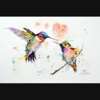 HUMMINGBIRDS Watercolor Print by Dean Crouser by DeanCrouserArt
