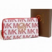 Michael Kors Continental Monogram Canvas Red Wallet Womens