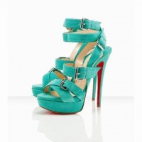 Red Bottom Christian Louboutin Toutenkaboucle 150mm Sandals Suede Jade