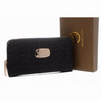 Michael Kors Zip Continental Mk Wallet Canvas Black Womens