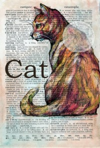 PRINT Cat Mixed Media Drawing on Distressed by flyingshoes