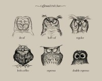Caffeinated Owls Art Print by Dave Mottram | Society6
