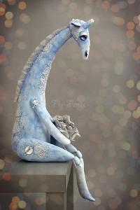 Снежный Жираф - жираф,снежный,зимний,грустный,влюбленный,синий,бязь,акрил
