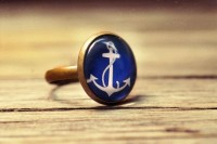 Blue & white anchor ring adjustable ring statement ?? SomeMagic