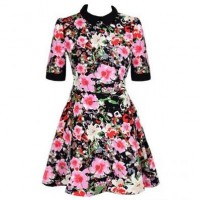 Multi Floral Print Lapel Dress @ Dresses,Casual Dress,Casual Dresses,Lace Dress,Womens Dresses,Sweater Dress,Maxi Dresses,V Neck Dress,Long Sleeve Dresses,Cute Dresses,Ladies Dresses,Junior Dress,Teen Clothing,Party Dresses,Black,Red,White Dress,Cheap Womens Dresses on sale @ maykool.c