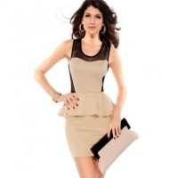 Apricot Cutout Mesh Splicing Peplum Dress @ Dresses,Casual Dress,Casual Dresses,Lace Dress,Womens Dresses,Sweater Dress,Maxi Dresses,V Neck Dress,Long Sleeve Dresses,Cute Dresses,Ladies Dresses,Junior Dress,Teen Clothing,Party Dresses,Black,Red,White Dress,Cheap Womens Dresses on sale @ maykool.c
