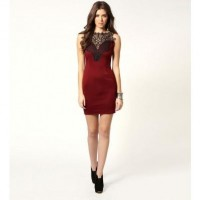 Dark Red Crochet Design V Back Dress @ Dresses,Casual Dress,Casual Dresses,Lace Dress,Womens Dresses,Sweater Dress,Maxi Dresses,V Neck Dress,Long Sleeve Dresses,Cute Dresses,Ladies Dresses,Junior Dress,Teen Clothing,Party Dresses,Black,Red,White Dress,Cheap Womens Dresses on sale @ maykool.c
