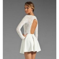White Lace Splicing Cutout Back Dress @ Dresses,Casual Dress,Casual Dresses,Lace Dress,Womens Dresses,Sweater Dress,Maxi Dresses,V Neck Dress,Long Sleeve Dresses,Cute Dresses,Ladies Dresses,Junior Dress,Teen Clothing,Party Dresses,Black,Red,White Dress,Cheap Womens Dresses on sale @ maykool.c